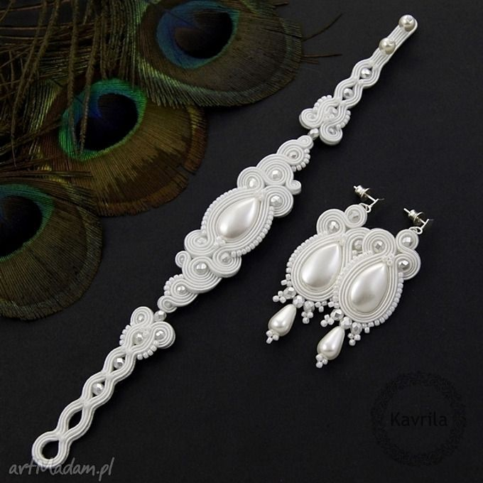 Komplet ślubny soutache lacira white komplety kavrila zestawhttp://art-madam.pl/komplety/komplet-slubny-soutache-lacira,148219,363