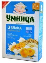 Умница каша молочная три злака с абрикосом 6 мес 200г  — 85р. -- Молочная каша Умница 3 злака с абрикосом, изготовленная из смеси злаков, содержит необходимые для развития и роста ребенка минералы и витамины. Кукуруза является источником пищевых волокон и способствует торможению процессов брожения в кишечнике. Пшеница богата витаминами, крахмалом, белком, а также клетчаткой, очищающей организм от токсинов, шлаков, улучшающей работу ЖКТ, снижающей в крови уровень холестерина. Рис содержит…