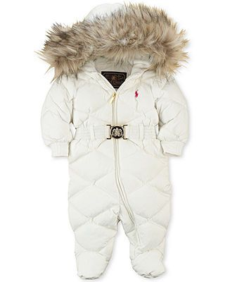 Ralph Lauren Baby Snowsuit, Baby Girls Faux Fur-Trimmed Down Bunting - Kids - Macy's