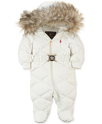 Ralph Lauren Baby Snowsuit, Baby Girls Faux Fur-Trimmed Down Bunting - Kids - Macy's