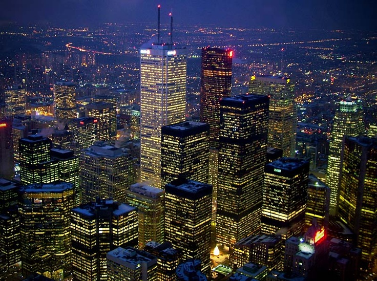 Lit Toronto city in the evening