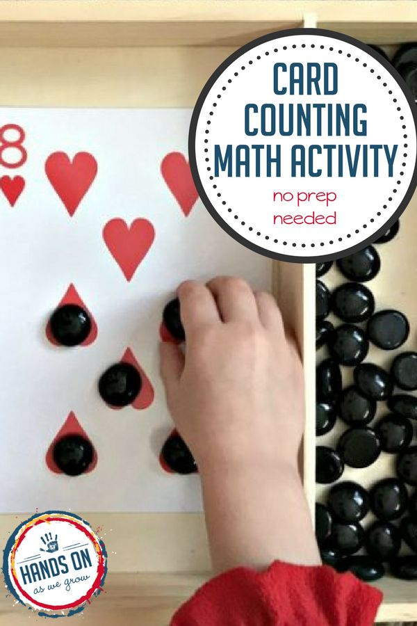 A deck of cards is all you need for this simple no-prep card counting math activity. Practice counting skills plus early addition and subtraction skills, too.