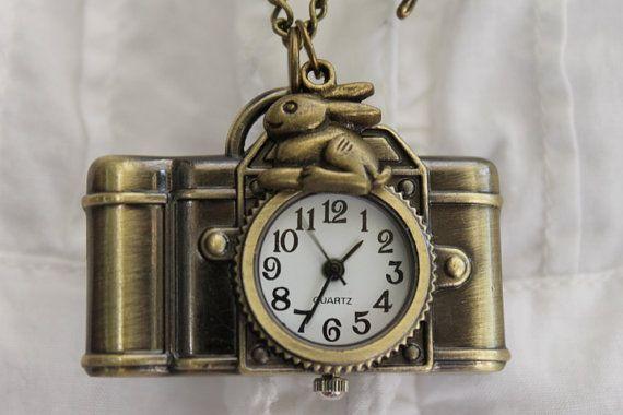 Alice in Wonderland  Antique Camera Pocket Watch by emilymoon2003, $15.99