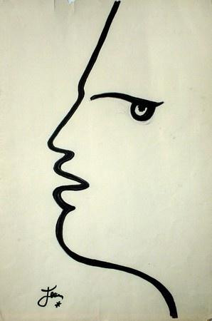 Jean Cocteau (1889-1963) werd geboren in Yvelines, een dorpje in de buurt bij Parijs. Hij hield van alle verschillende vormen van kunst en hield zichzelf dan ook niet met enkel een discipline bezig. Hij maakte films, schreef gedichten en boeken en schilderde. Zijn vriendengroep bestond ook vooral uit kunstzinnige types als Coco Chanel, Pablo Picasso en Marlene Dietrich.     Prachtig schilderij wegens de eenvoud en de vorm. Door de variatie van de dikte van de lijn gaat het schilderij meer…