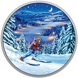 2017 $15 great Canadian outdoors: night skiing - pure silver glow-in-the-dark coin.
