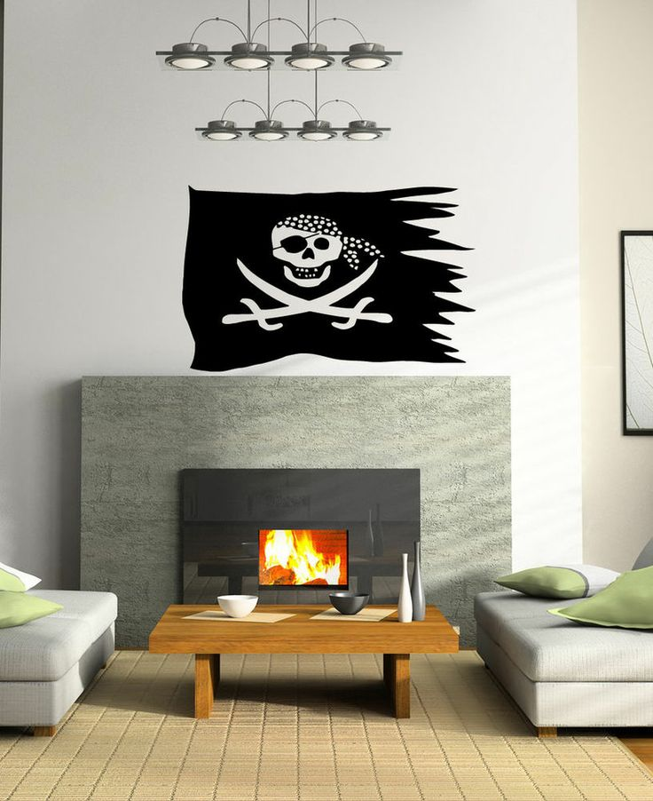 PIRATE SYMBOL WALL STICKER  COOL ROOM DESIGN VINYL T449 #MuralArtDecals for the living room