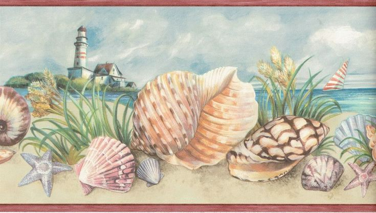 sea shells on beach and starfish with lighthouse wallpaper on border wall id=92532