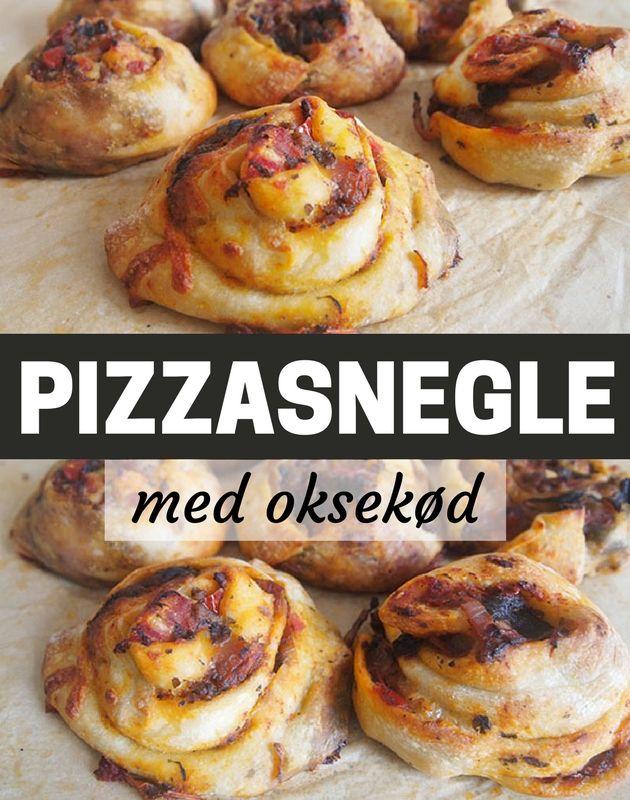 Skønne pizzasnegle med dejligt oksekødsfyld - de passer perfekt til madpakken, picnicen, buffeten eller serveret til aftensmad med en god salat til.