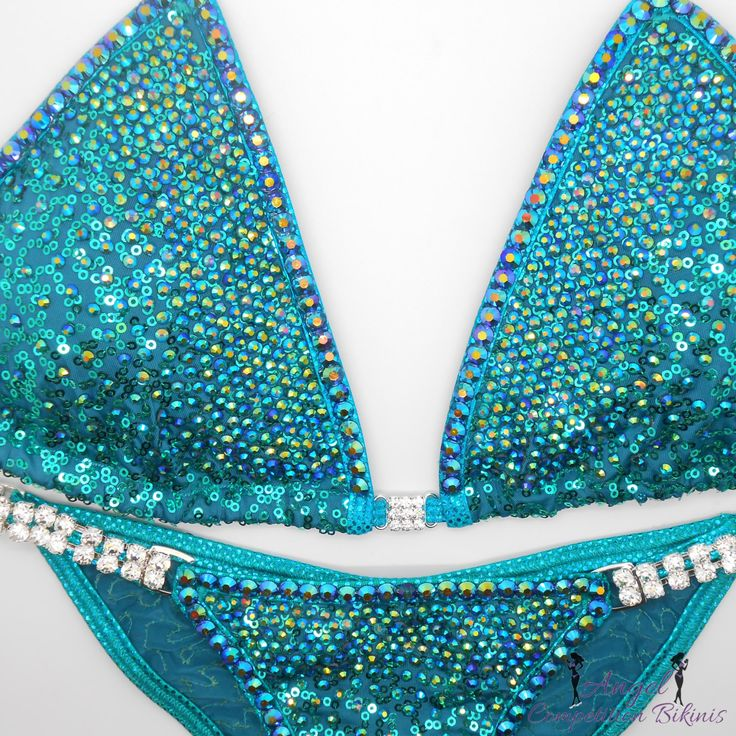Sequin Teal Angel Ombre with crystal trim competition bikini posing suit by NpcAngelBikinis on Etsy