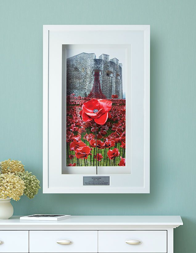 Beautiful display custom made by our master framers for your ceramic poppy display your