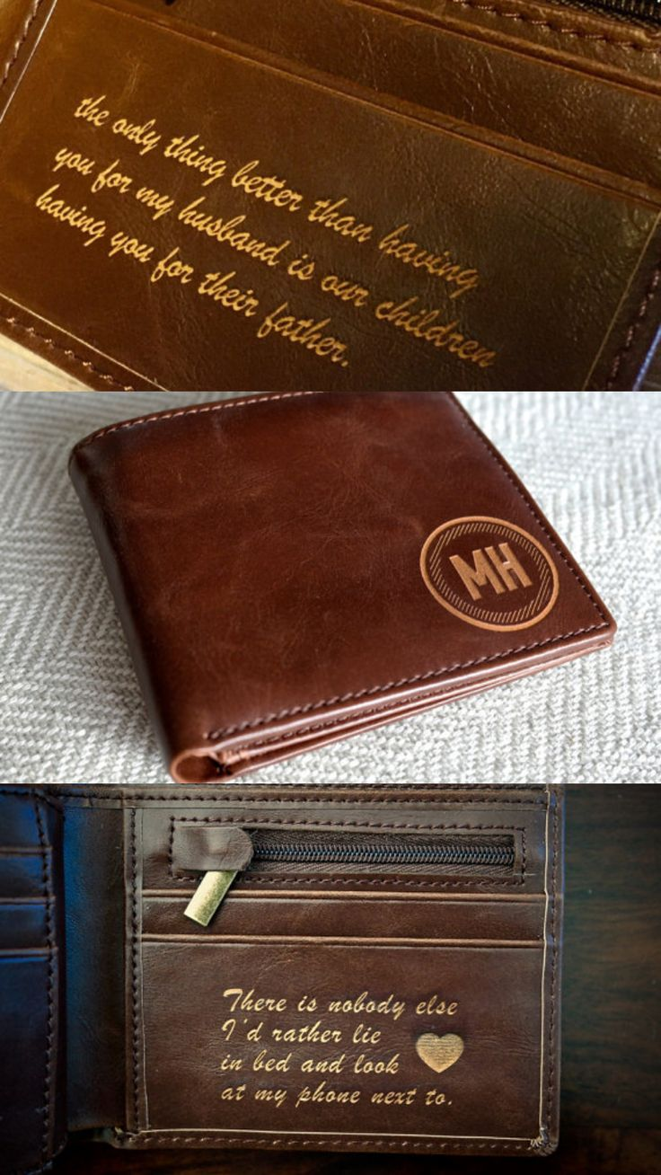Valentines Day Gift for Him - Mens Leather Wallet - Personalized Anniversary Gift #giftforhim #valentine #ad