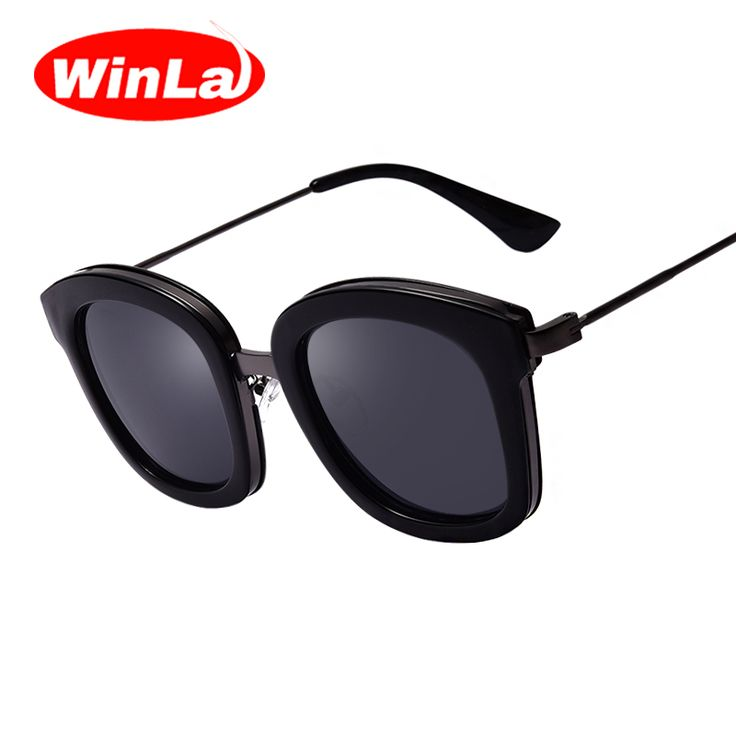 Winla New Fashion Women Sunglasses Famous Brand Designer Round Sun glasses for Men Black Frame Glasses oculos de sol UV400