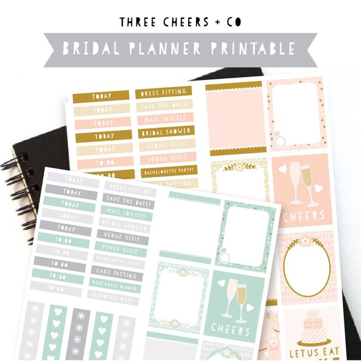 Bridal planner sticker printable three cheers co for Planner co