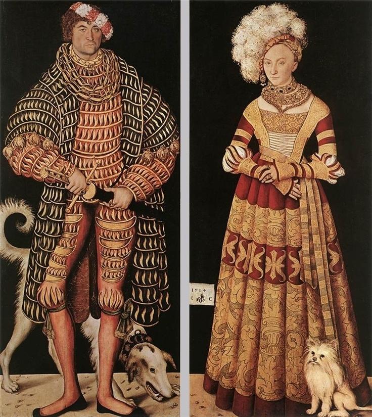 루카스 크라나흐가 그린 하인리히 공의 부부 초상화이다.(1514). 오른쪽의 부인은 선홍색의 벨벳드레스, 타조털로 장식된 것 같은 소재의 커다란 모자를 쓰고 있다. 이 무렵에는 검정이나 짙은 색의 벨벳이 크게 유행했는데, 단색이 아니라 동양적인 당초 등의 복잡한 문양이 직조되었다. 벨벳과 함께 호화롭고 중후한 견직물의 옷에 보석을 사용하고, 레이스로 장식을 했으며, 고가의 장신구를 착용하였다. 그림 속 부인도 에메랄드, 루비, 진주를 박은 금초커에 굵은 금 체인을 겹쳐 두르고 있다.      하인리히 공은 크라나흐가 궁정화가로 일했던 뷔텐베르크의 영주였다. 그곳은 유럽을 뒤흔든 종교개혁의 중심지이며, 신흥 대학가였다. 하지만 르네상스가 꽃피운 이탈리아의 시각으로 보자면, 어쨋든 이곳은 독일의 깡촌일 뿐이었다. 때문에 하인리히가 입고 있는 스타일은 '독일 귀족들의 센스없는 고리타분한 차림새'라고 하기도 한다.