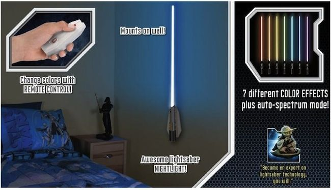 """Lightsaber Nightlight for the Star Wars Room- this costs $25 + shipping.  Wonder if we could make our own """"lightsaber nightlight"""" out of his blacklight"""