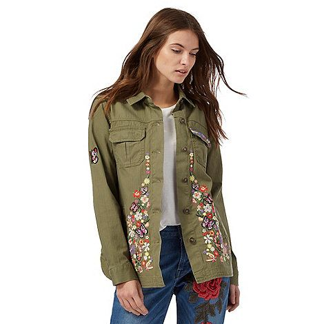 Red Herring Khaki embroidered utility jacket | Debenhams