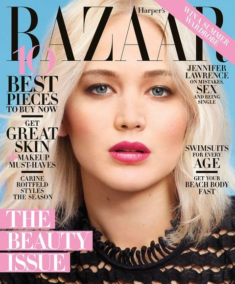 Jennifer Lawrence posed without her bra in a sheer top inside her Harper's Bazaar May 2016 spread; plus, she revealed that she wants to become 'the new normal-body type' — read on