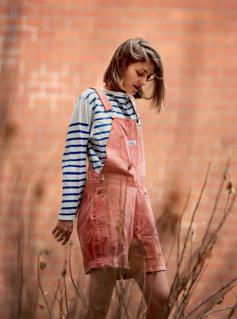 Bringing us back to our childhood  http://www.backyardbill.com/: Outfits, Overalls Shorts, Fashion, Backyard Bill, Pink Over, Sophie Aschauer, Street Style Over, Stripes, Colors Over