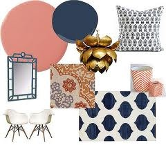 navy blue and peach bedroom...blue velvet headboard...white and peach linens and satins with pops of navy