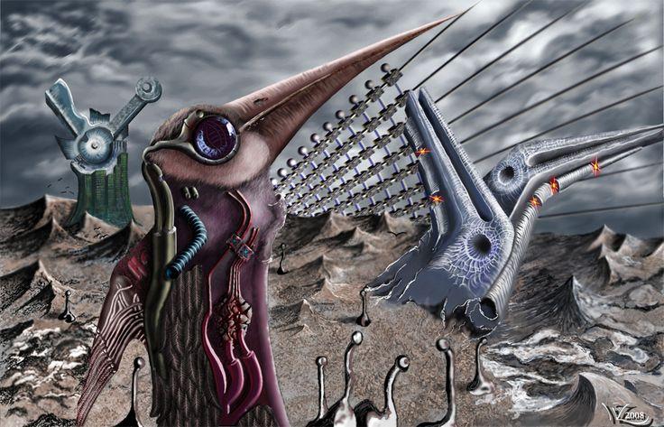Obraz malowany cyfrowo_ Miasto ptaków