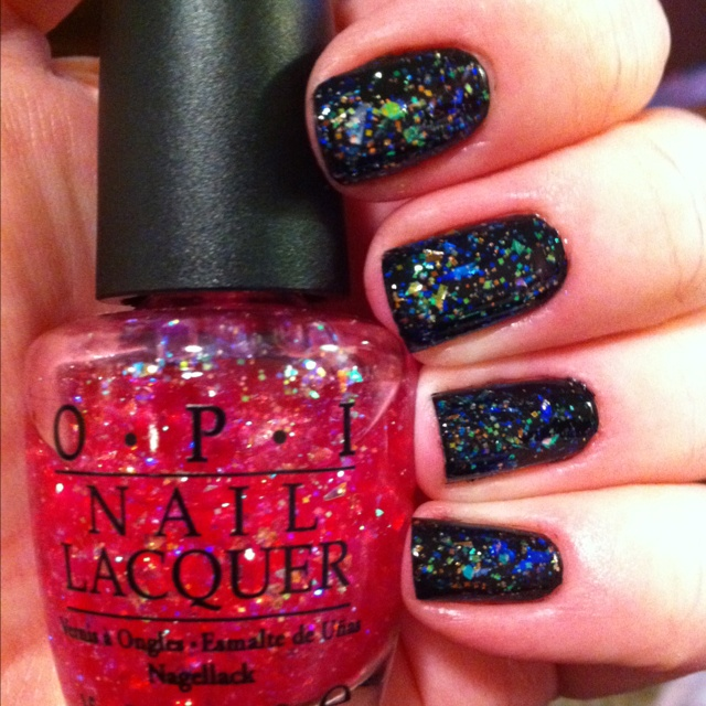 "OPI ""I Lily Love You"" over 2 coats OPI ""Black Onyx""... Turned out so cool!!"