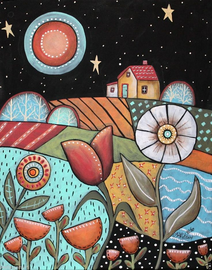 Good Night 11x14 Landscape ORIGINAL Canvas PAINTING Abstract FOLK ART Karla G...new painting for sale, ready to hang...