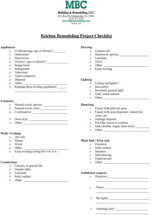 9 best images about Kitchen Checklists – Renovation Checklist Template
