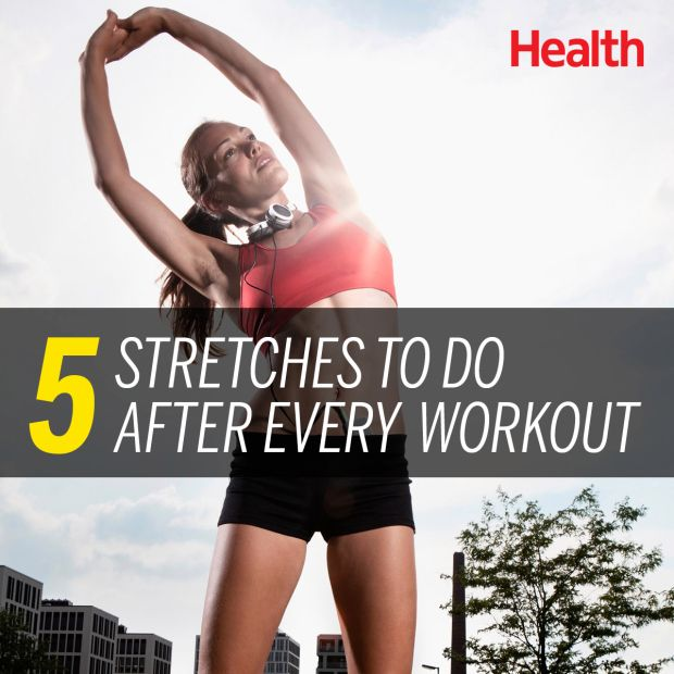 Here are five stretches you can do after your workout to help ward off soreness, and finish your sweat session out like a champ. | Health.com