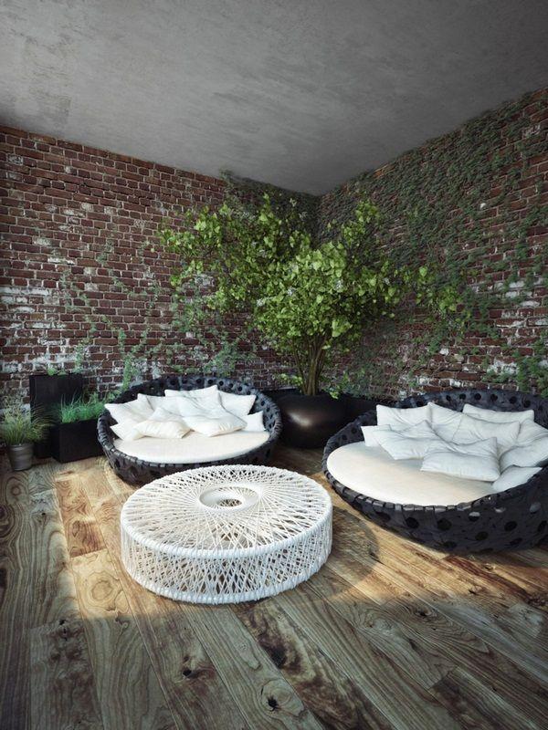 modern clinker wall design idea canopy lounge coffee table