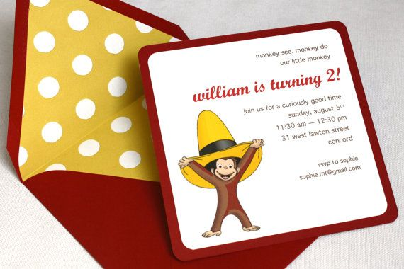 Curious George Birthday Party Invitation - Square Envelope and Invitation, Envelope Liner, Multi-Layered Invitation. $32.00, via Etsy.