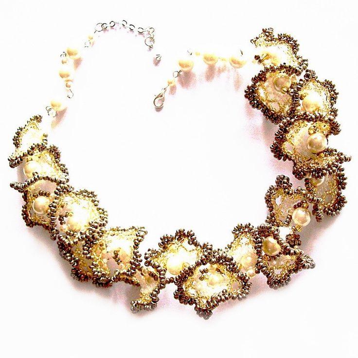 Zlato bílý náhrdelník oglala