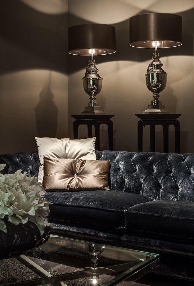 Luxury interior design, living room ideas, dark living room