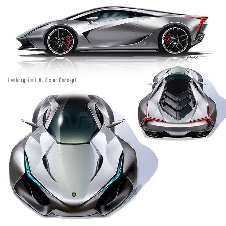 Multiple views of the Lamborghini LA Vision Concept by Daisuke Iguchi