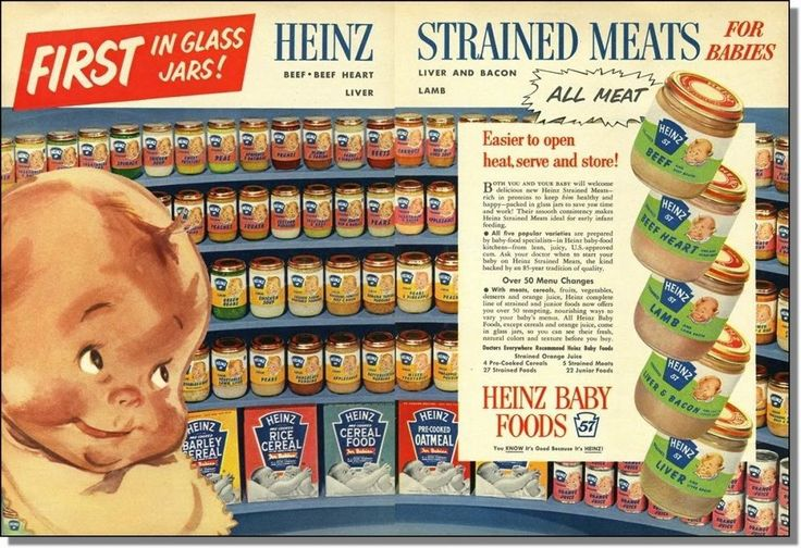 1954 Heinz strained meat baby food in glass jars 2-page print-ad   Collectibles, Advertising, Merchandise & Memorabilia   eBay!