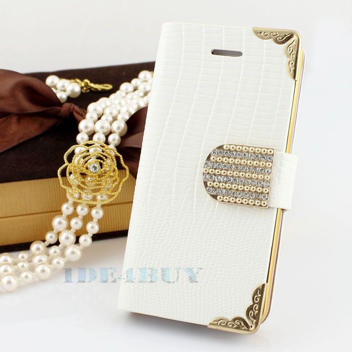 Colorful Leather Shining Crystal Flip Wallet luxury Bling case for iPhone 4 4G 4S 1pc Free ship US $6.99