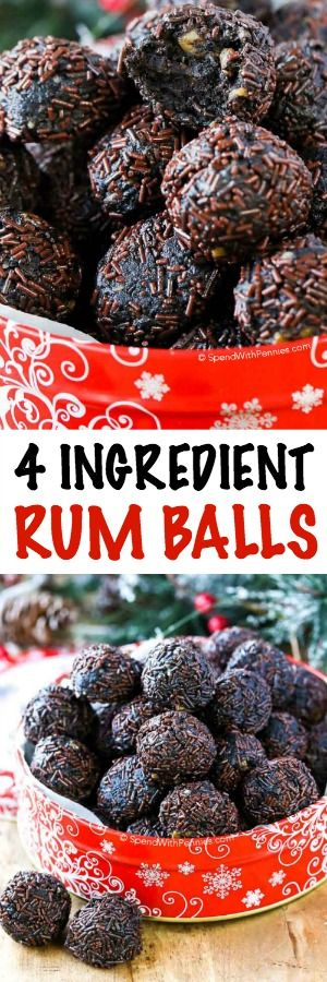 These easy Rum balls are the best way to spread holiday cheer to your grown up friends and family! With only 4 ingredients (plus sprinkles) and no baking required, these decadent truffle-like, treatspack a punch that makesthe cookie tray season just a little bit brighter!