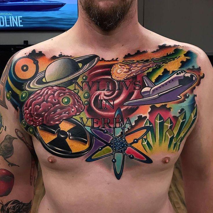 Chest Tattoo by @joshwoods at @theblacklanternoc in Dana Point California. #chesttattoo #brain #spaceship #biohazard #planet #atom #joshwoods #theblacklanternoc #danapoint #california #tattoo #tattoos #tattoosnob