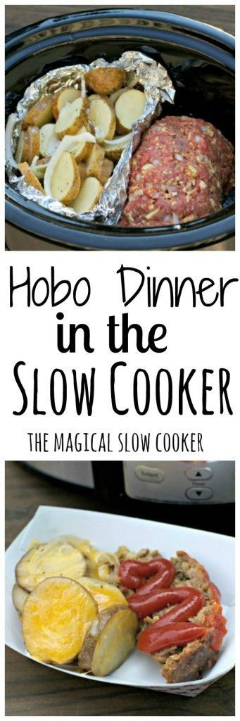 Hobo Dinner in the Slow Cooker- A complete meal for four in the slow cooker. A small meatloaf and cheesy potatoes!