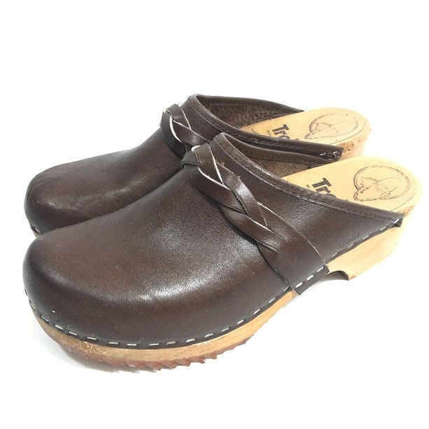 00901e4516ad7 Details about Vintage Womens MIA Swedish Wooden Clogs Brown Cordovan ...