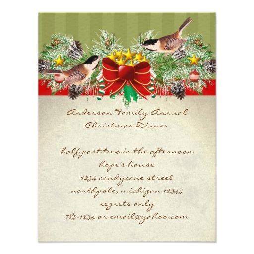 partie vintage d 39 invitation de d ner de no l d 39 ois birds and christmas kerst en vogeltjes. Black Bedroom Furniture Sets. Home Design Ideas