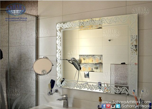 Silver Bathroom Mirror With Sandblasted Classic Designed Frame And Backlights