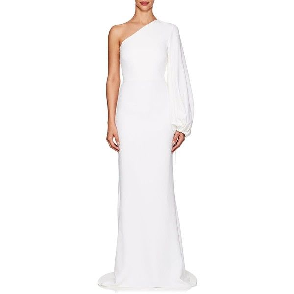 043f4785622f Stella McCartney Women's Kate Crepe One-Shoulder Gown ($3,150) ❤ liked on  Polyvore featuring dresses, gowns, white, white ball gowns, long sleeve  white ...