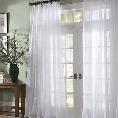 I honestly NEED these curtains for my room :)  (One Panel) Solid Contemporary White Sheer Curtain - GBP £ 10.43