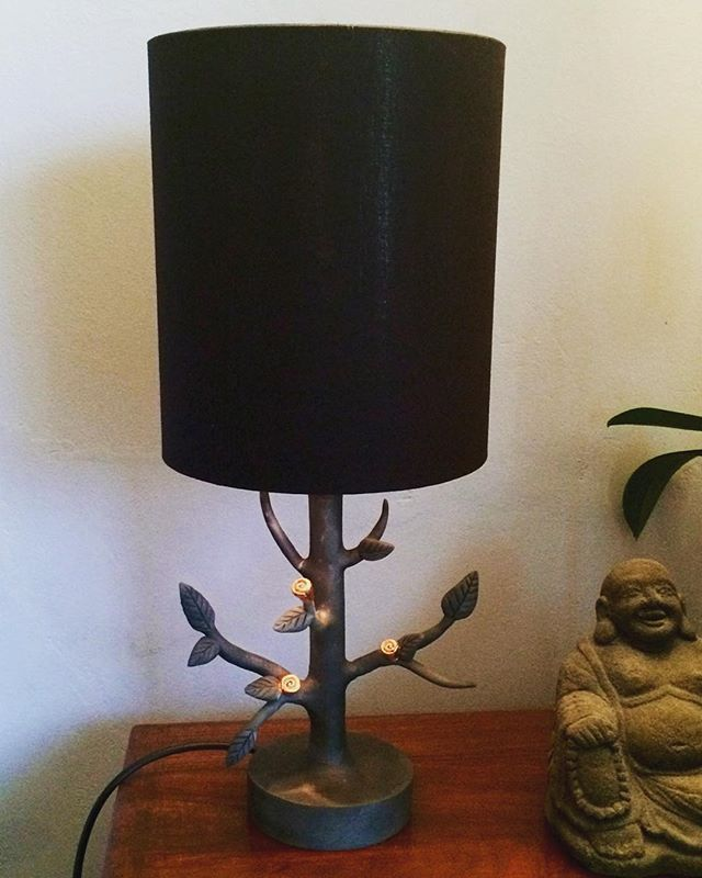 My first #ceramic lamp is finished  #Raku fired base with copper leaf and #handmade shade with copper lining.