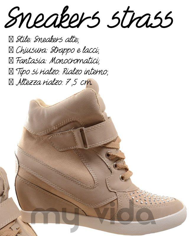Sneakers donna zeppa interna strass strappi e lacci comode e facili da indossare slanciano le gamba conferendo un aspetto più affusolato alla figura  #style #shoes #news #fashion #shoes #LOVE #Wedge #streetstyle