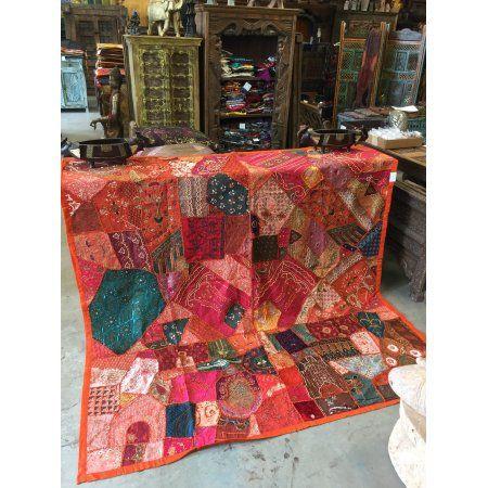 Mogul Vintage Decorative Indian Sari Tapestry Headboard Zardozi Wall Throw 90X 80