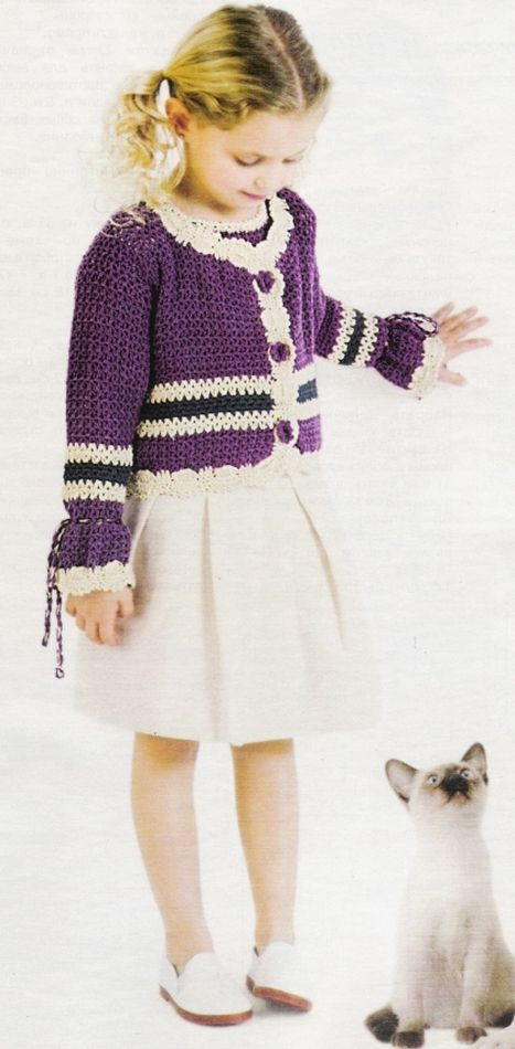 179 best chaquetas niñas crochet images on Pinterest   Crochet ...