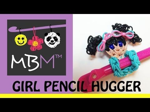 Rainbow Loom LITTLE GIRL or PRINCESS Pencil Hugger. Designed and loomed by Made By Mommy. Click photo for YouTube tutorial. 04/28/14.