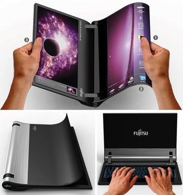 Opening the book on laptops: The Real Notebook  Designer Kim Min Seok takes the current advances in flexible display technology to the limit with his Real Notebook prototype. The system is made from a pair of bendable AMOLED displays held together by a cylindrical hinge that houses the system's battery.