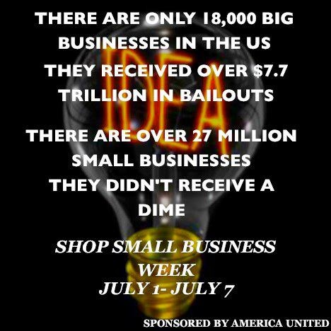 Remember it is the small business' that are responsible for what growth our country has seen over the past several years.